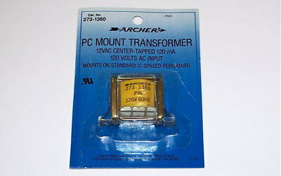 New Radio Shack Archer Power Transformer 12v Ct Pc Mount Terminals 12 Volts Ac