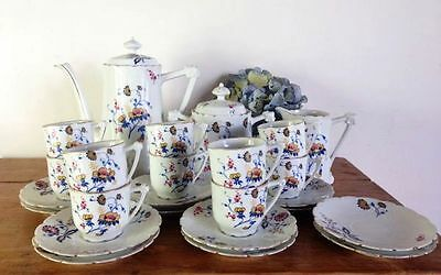 Christmas Gift Antique French & Cie Limoges Floral Porcelain Coffee Set - a536