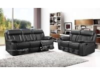 Leather sofa, recliners, 3 & 2 seater, soft leather.