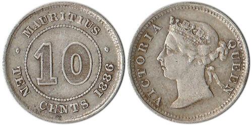 1886 Mauritius 10 Cents Silver Coin Victoria KM#10.1 Mintage 750,000