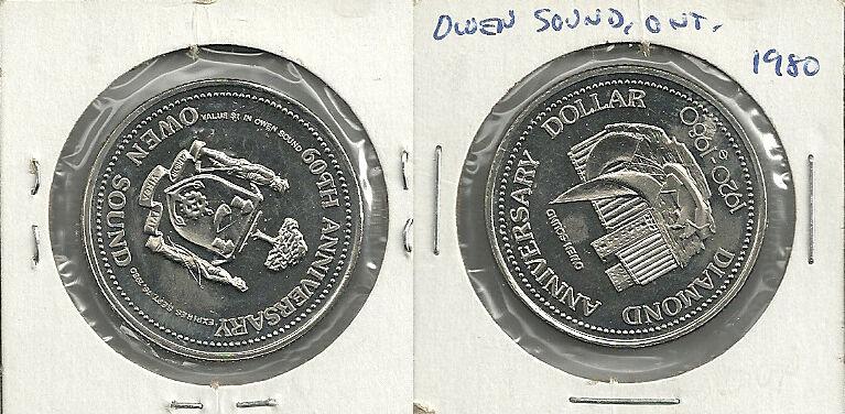 1980 Owen Sound, Ontario Canada Diamond Anniversary Trade Dollar