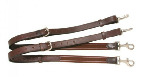 Tough-1 Full Size Brown Leather Side Reins w/ Elastic Ends Horse Tack Equine