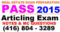 OREA Articling EXAM NOTES & MC Questions w/Tutor Class 2015 Pass