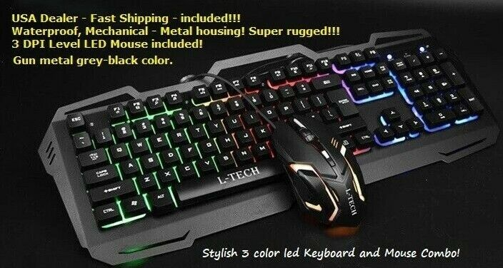 Rugged Waterproof LED RGB Mechanical Keyboard and Mouse comb