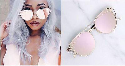 Cateye Damen Sonnenbrille Retro Verspiegelt Rosagold Vintage Blogger Trend