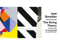 2 tickets for Jose Gonzalez with string theory Brighton Friday 21st