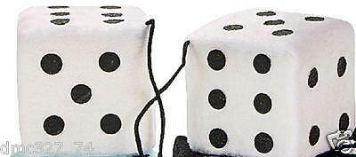 1950s Sock Hop Grease Party Decoration Car Prop PLUSH HANGING DICE ~ WHITE - Grease Party Decorations