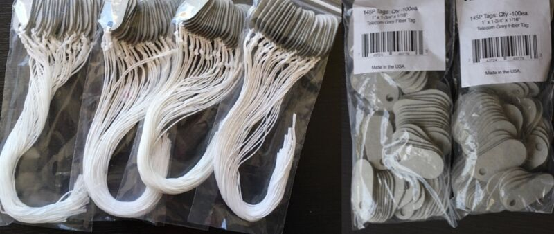 145P Tags Sampler PROMO (200/100):2 bags(200) 145P Grey tags & 1 Bag(100) w/Cord