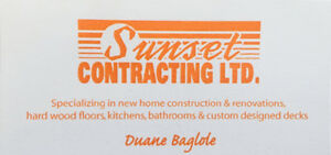 Sunset Contracting - the small company with the Personal touch