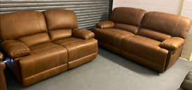 Tan recliner 3 and 2 seater sofa suite