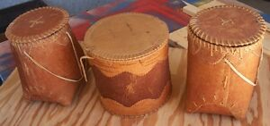 NATIVE,BERRY PICKING BASKETS,set of three,BIRCH BARK,see photos