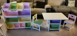 Toy organizer plus table and chairs