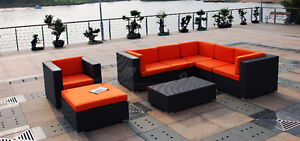 8 pc-Resin Wicker Patio Sectional-Brown Set only