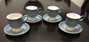 Denby Castile Blue cups and saucers set of 4