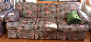 Used couch and two matching fabric chairs