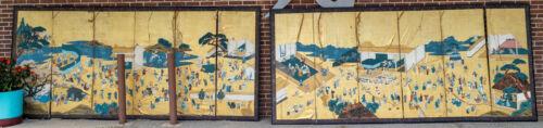 Antique Pair Massive Japanese Folding Wall Floor Screens Procession Festival
