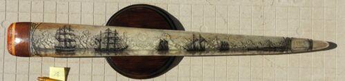 SWORDFISH  BILL SCRIMSHAW  PEN-AND-INK  K. HENRY  SHIP  SWORD  WHALE S 19