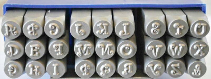 SUPPLY GUY 6mm Curlz Font Metal Stamp Upper Letter Set