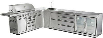 New 5 Piece Stainless Steel Outdoor BBQ Gas Grill Island Refrigerator Sink Stove