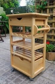 Kitchen - Mobile Light Oak Trolley