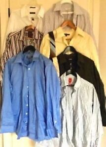 MOVING SALE  LOT BRAND NAME DESIGNER DRESS SHIRTS PANTS