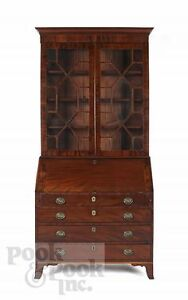 Antique:  18th century English mahogany slope desk with bookcase