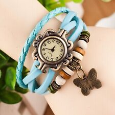 VINTAGE RETRO BRACELET LEATHER WOMEN WRIST WATCH - LIGHT BLUE
