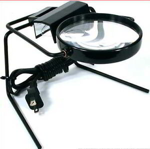 magnifier magnifying glass on stand lighted table top desk lamp ebay. Black Bedroom Furniture Sets. Home Design Ideas
