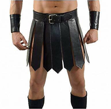 Gladiator Halloween Costume (100% Genuine Black Leather Gladiator KILT For Men and Boys Costumes)