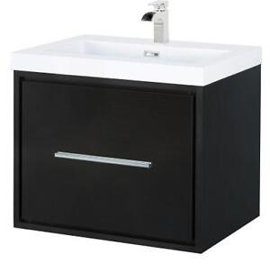 """Fully Assembled 24"""" Wall Hung Espresso Vanity w/Chrome hardware.  White Top Included"""