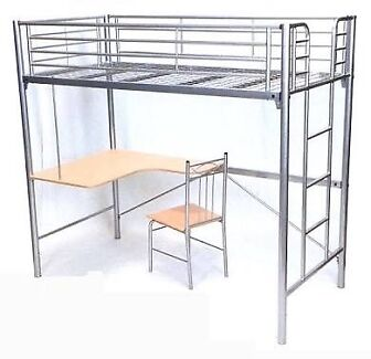 STEEL Bunk Bed with Desk and Chair