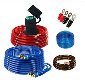 FULL CAR SOUND SYSTEM WIRING KIT INCLUDING POWER CABLE. INLINE FUSE, GROUND CABLE, AUDIO, RCA, ETC.