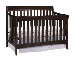 Baby crib, changing table, dresser, jumper, chair, and gate