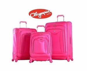 NEW OLYMPIA LUXE 3PC SPINNER SET   HOT PINK SUITCASE LUGGAGE SPINNER SET BAGGAGE TRAVEL GEAR 93016322