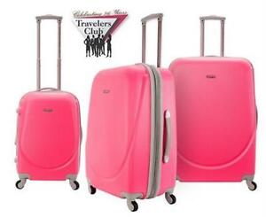 NEW TRAVELERS CLUB 3PC LUGGAGE SET NEON PINK HARDSIDE SPINNER SUITCASE TRAVEL GEAR BAG