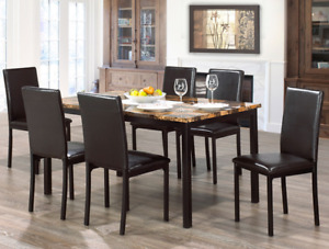 Faux Marble Top dinette set with 6 chairs.