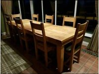 Custom made 12 seater soild oak table and chairs