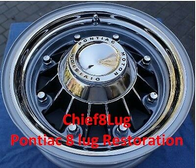 1960 TO 1968 RESTORED , RELINED SHOW QUALITY PONTIAC 8 LUG DRUMS AND WHEELS