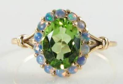 LUSH 9k 9CT GOLD PERIDOT AUS OPAL ART DECO INS CLUSTER RING FREE RESIZE ()