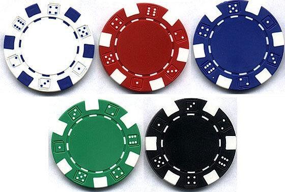DICE POKER CHIPS 11.5g White Red Blue Green Black PACK 50 ...