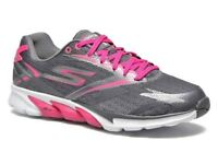 Sketchers Go Run 4 Charcoal/Pink Trainers size UK 6.5