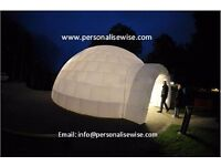 Inflatable igloo tent. Inflatable bubble tent. inflatable marquees. Commercial inflatables.