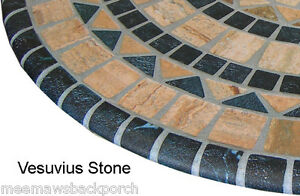 Made In Usa Mosaic Stone Round Fitted Dining Tablecloth