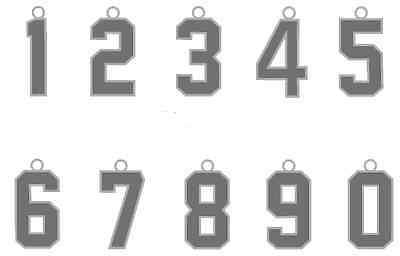 Jersey Number Style Necklace Charm Pendant Silver Football Baseball Soccer - Soccer Necklaces