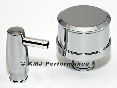 Chrome Aluminum Pcv Valve And Smooth Top Valve Cover Breather - Push In