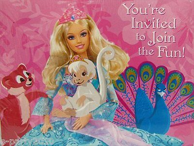 - BARBIE Island Princess INVITATIONS (8) ~ Birthday Party Supplies Stationery Card