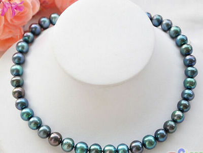 New 9-10mm PEACOCK BLACK ROUND Freshwater cultured PEARL NECKLACE (Freshwater Cultured Peacock Pearl)