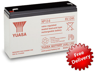 Yuasa Potencia 6V 12Ah Recargable Batería - Alarmas - Juguete Eléctrico Coches