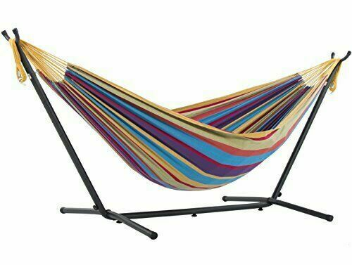 Vivere Double Cotton Hammock with Space Saving Steel Stand T
