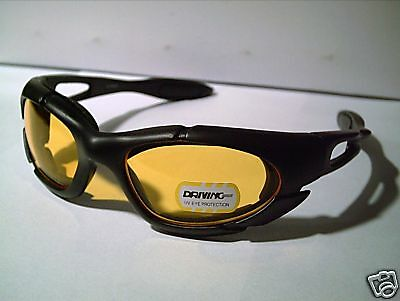 SMALL 2 FOR $12 NIGHT DRIVING BIKE RIDING CYCLING SPORT WRAP YELLOW SUN-GLASSES (Sunglasses For Riding Bikes)